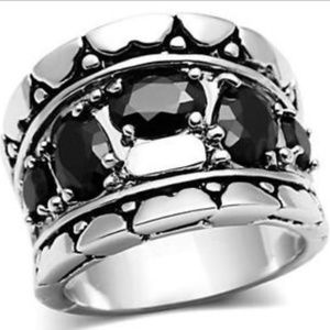 Silver Art Deco Statement Cocktail Ring Sz 6 7 8 9